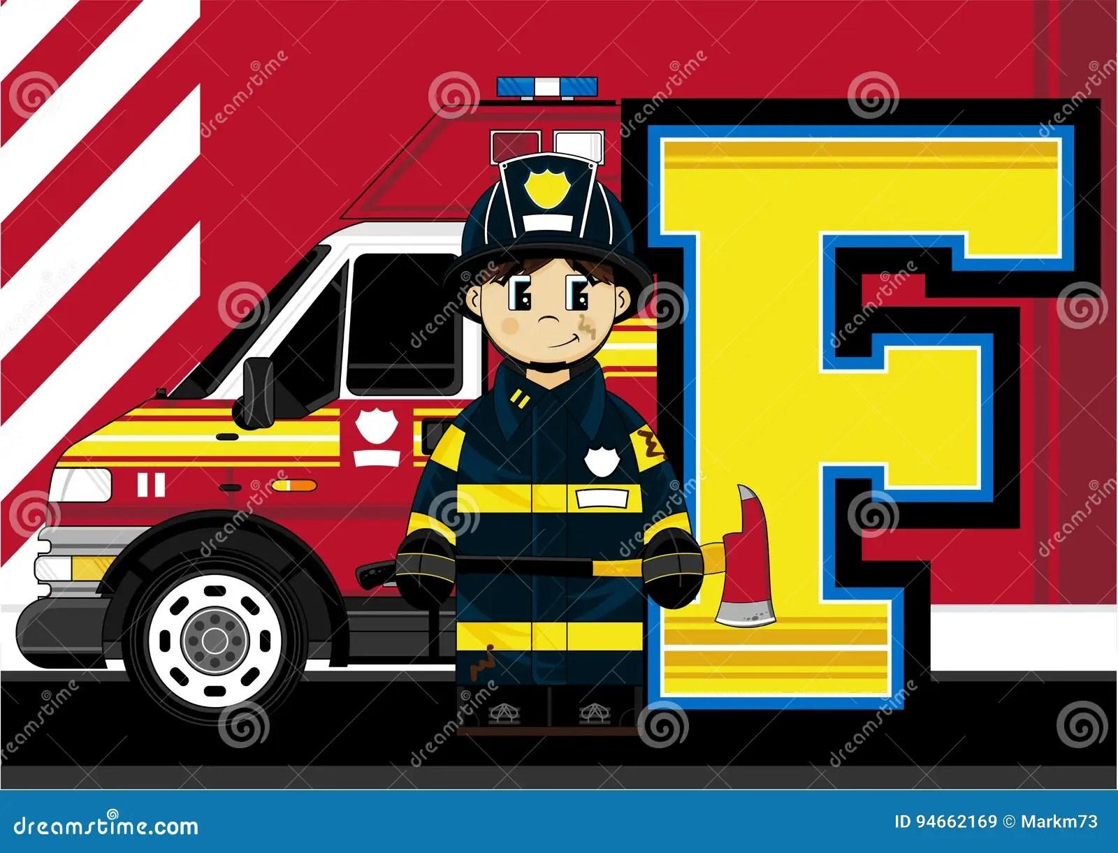 F Is For Fireman Stock Vector Illustration Of Firetruck