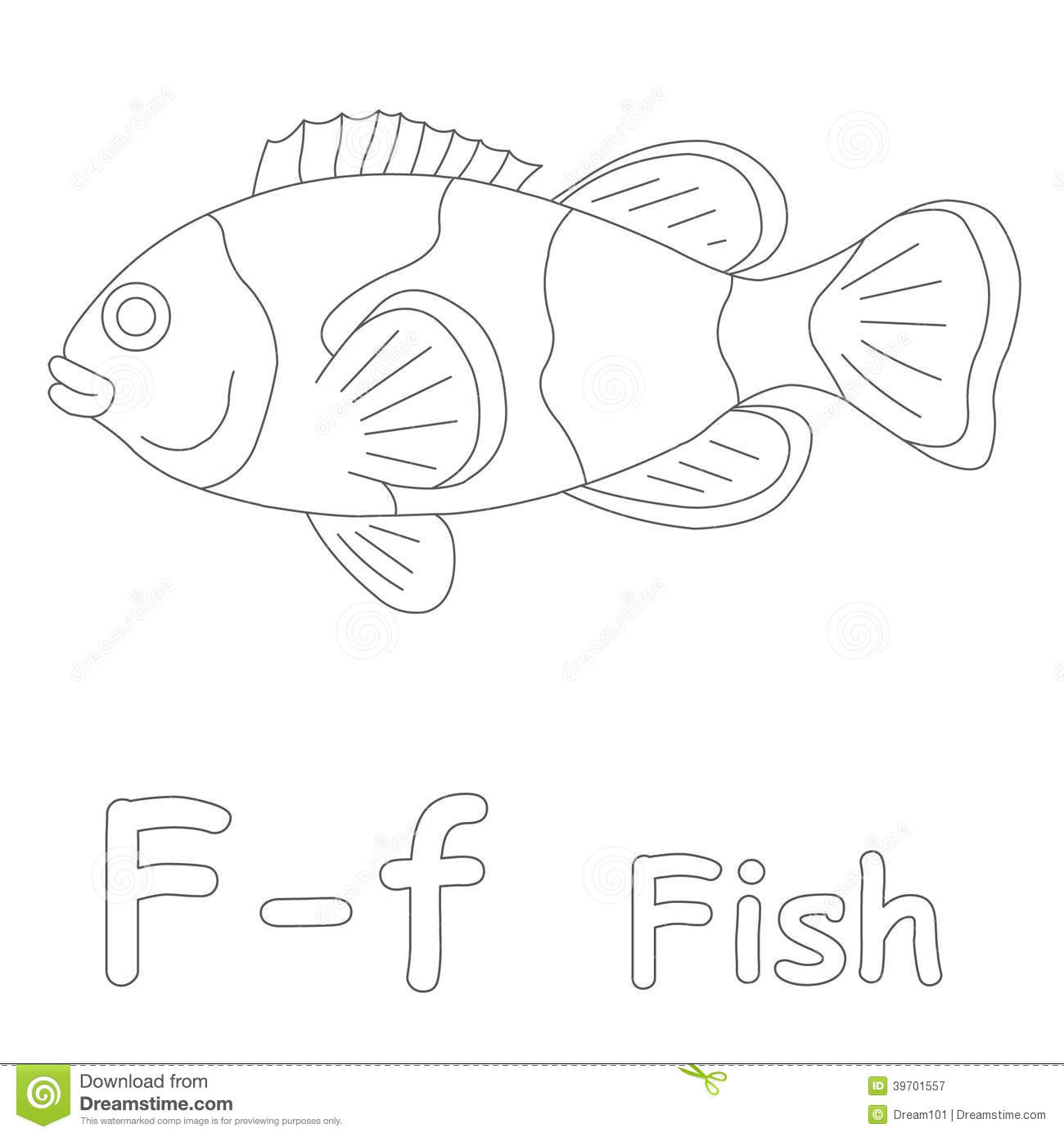 F For Fish Coloring Page Stock Illustration Illustration