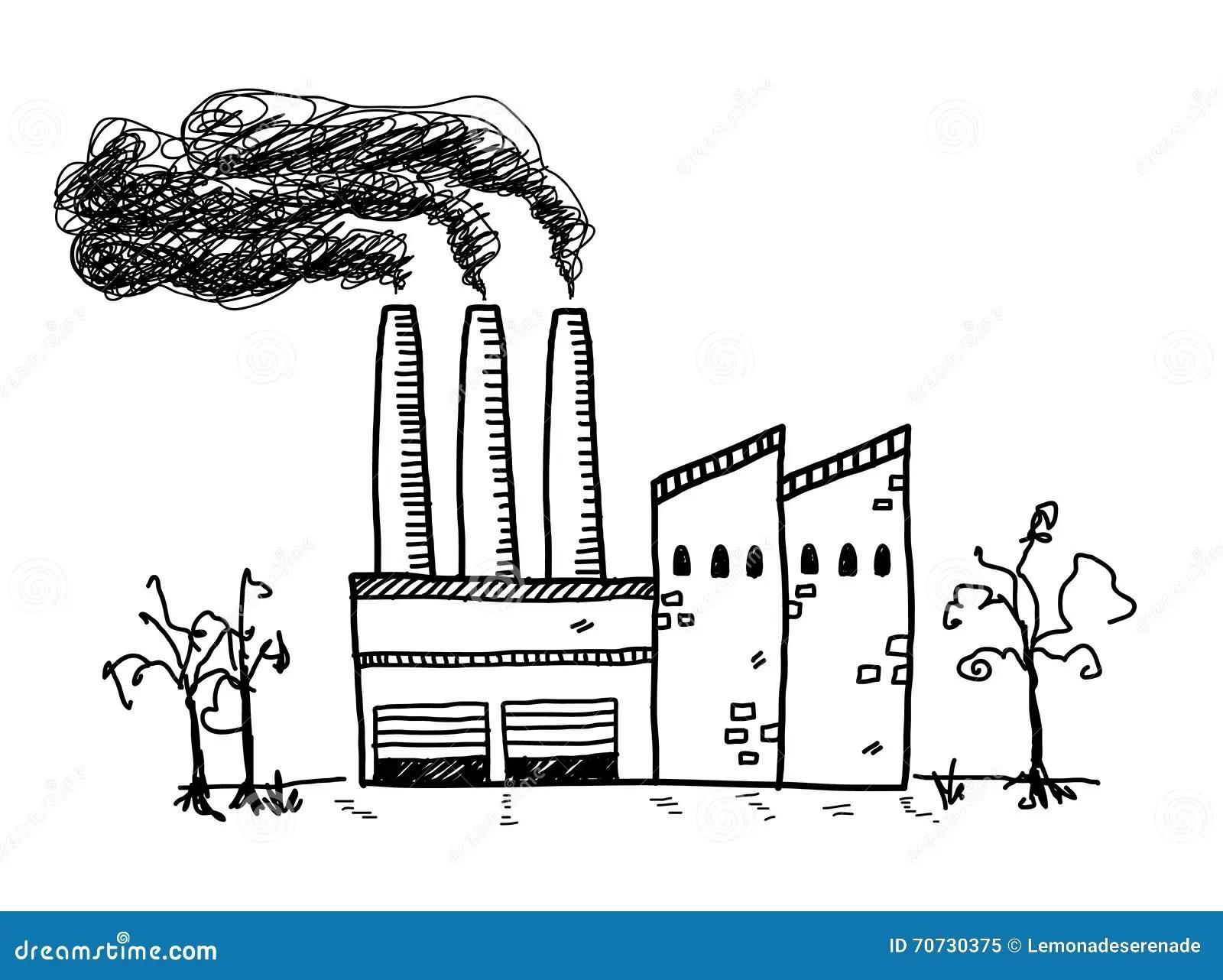 Fabrik Verschmutzungs Gekritzel Vektor Abbildung