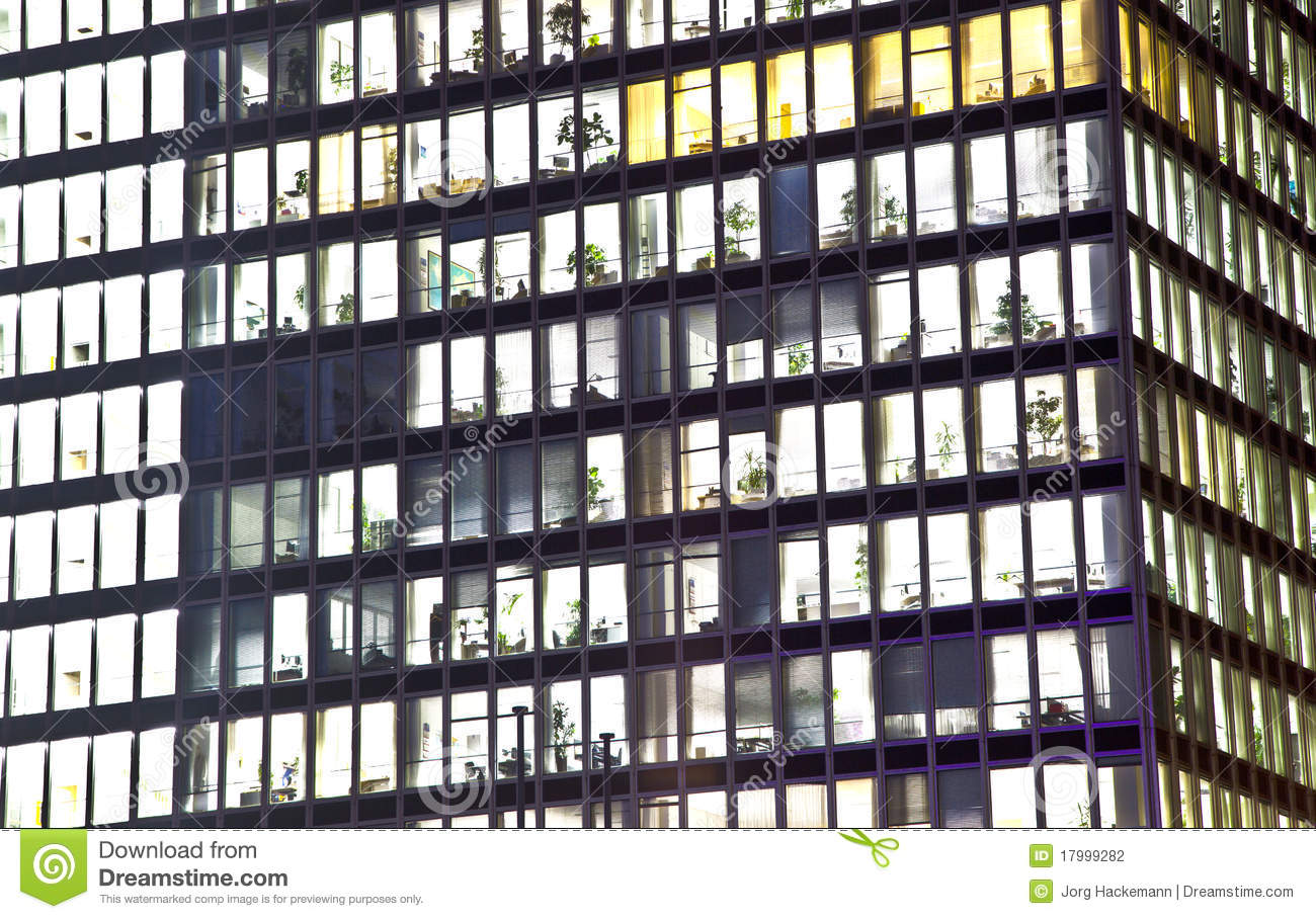 Facade Of Office Building By Night Stock Photo Image
