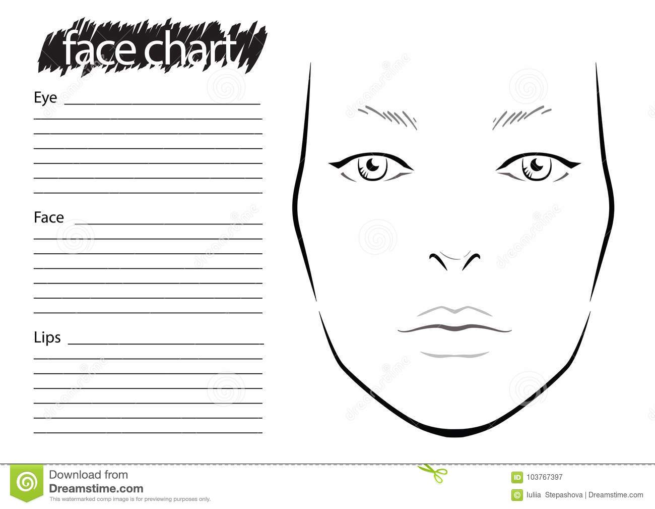 Face Chart Makeup Artist Blank Template Stock Illustration