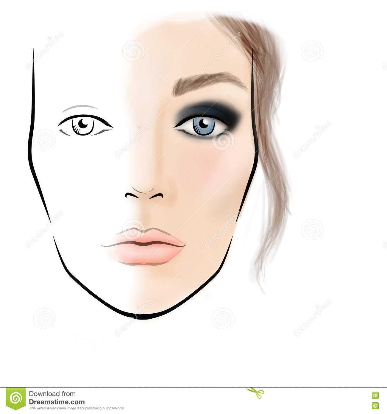 Face Chart Makeup Artist Blank Stock Illustration