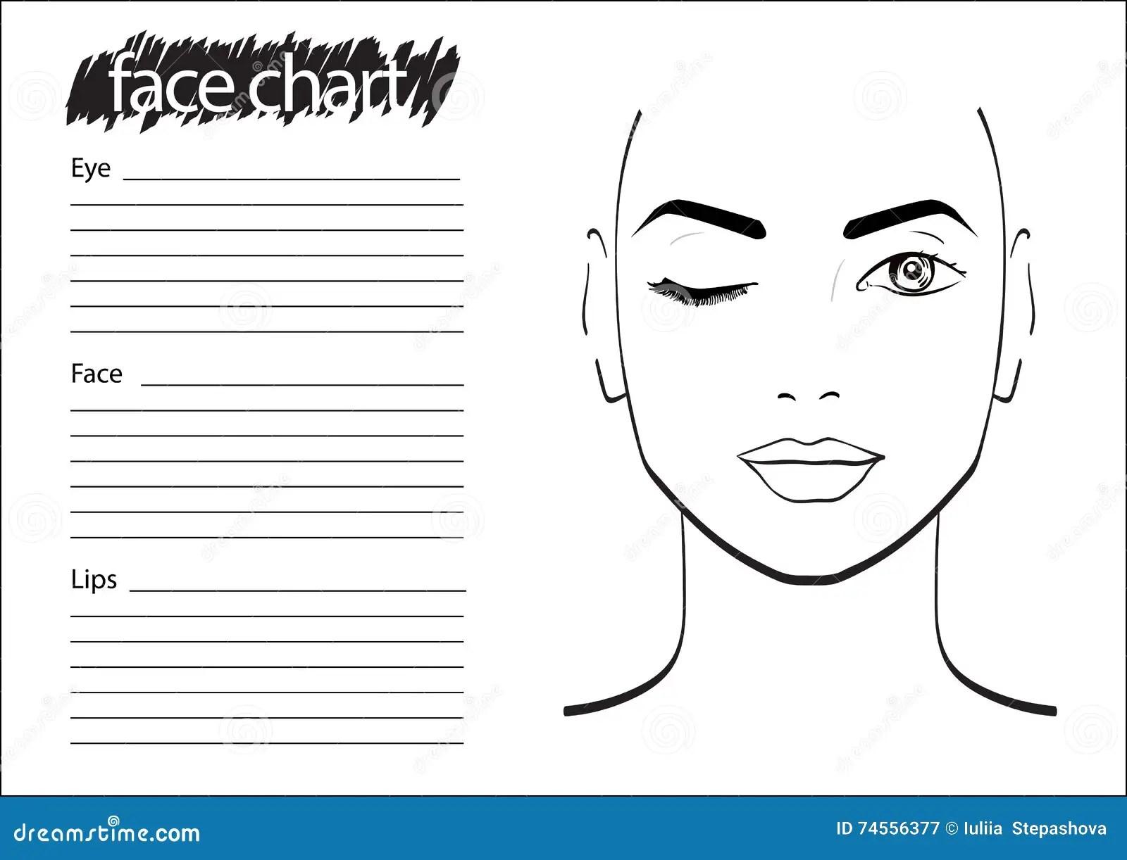 Face Chart Makeup Artist Blank Stock Illustration
