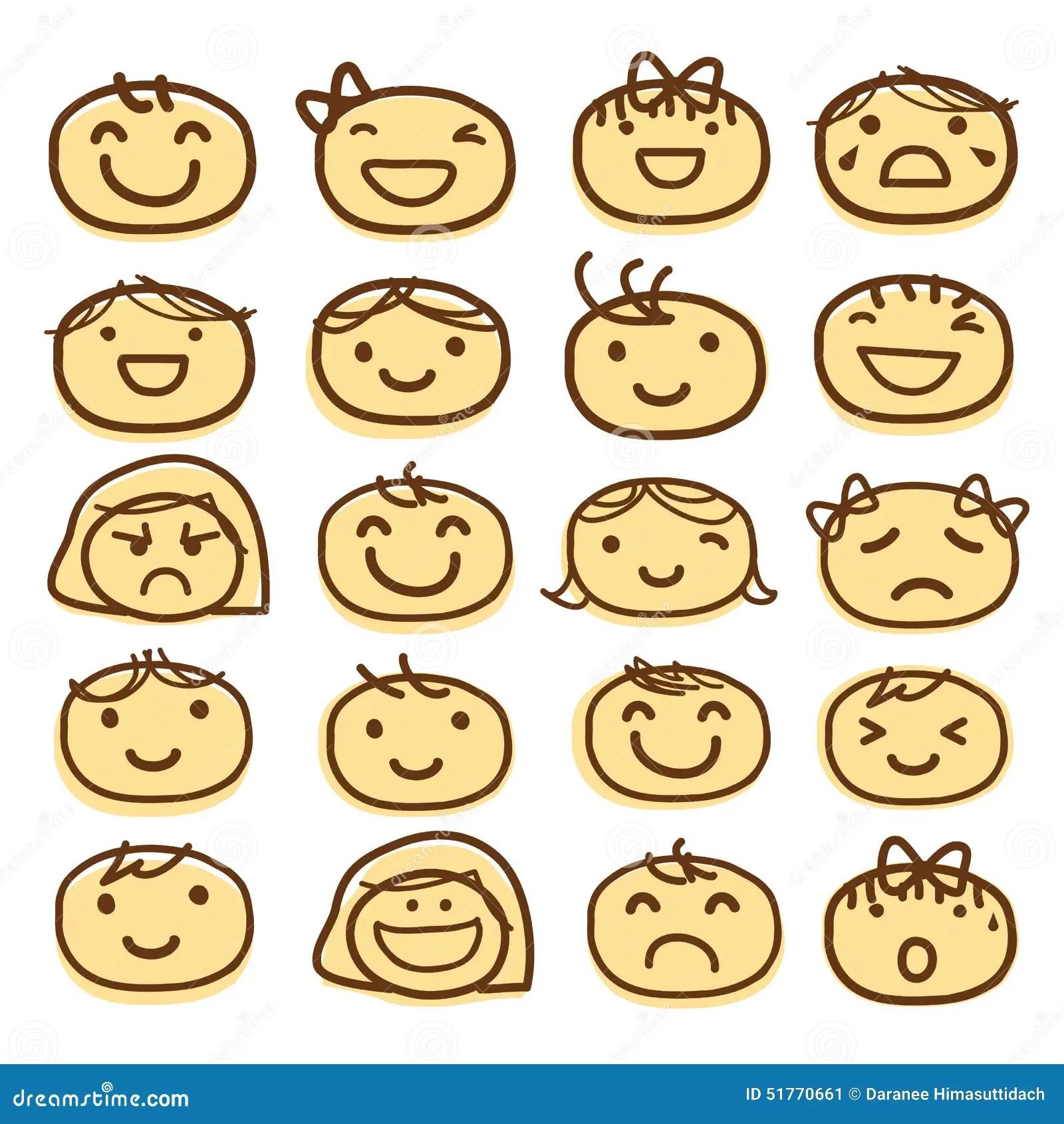 Face Kids Draw Emotion Feeling Icon Cute Cartoon Vector
