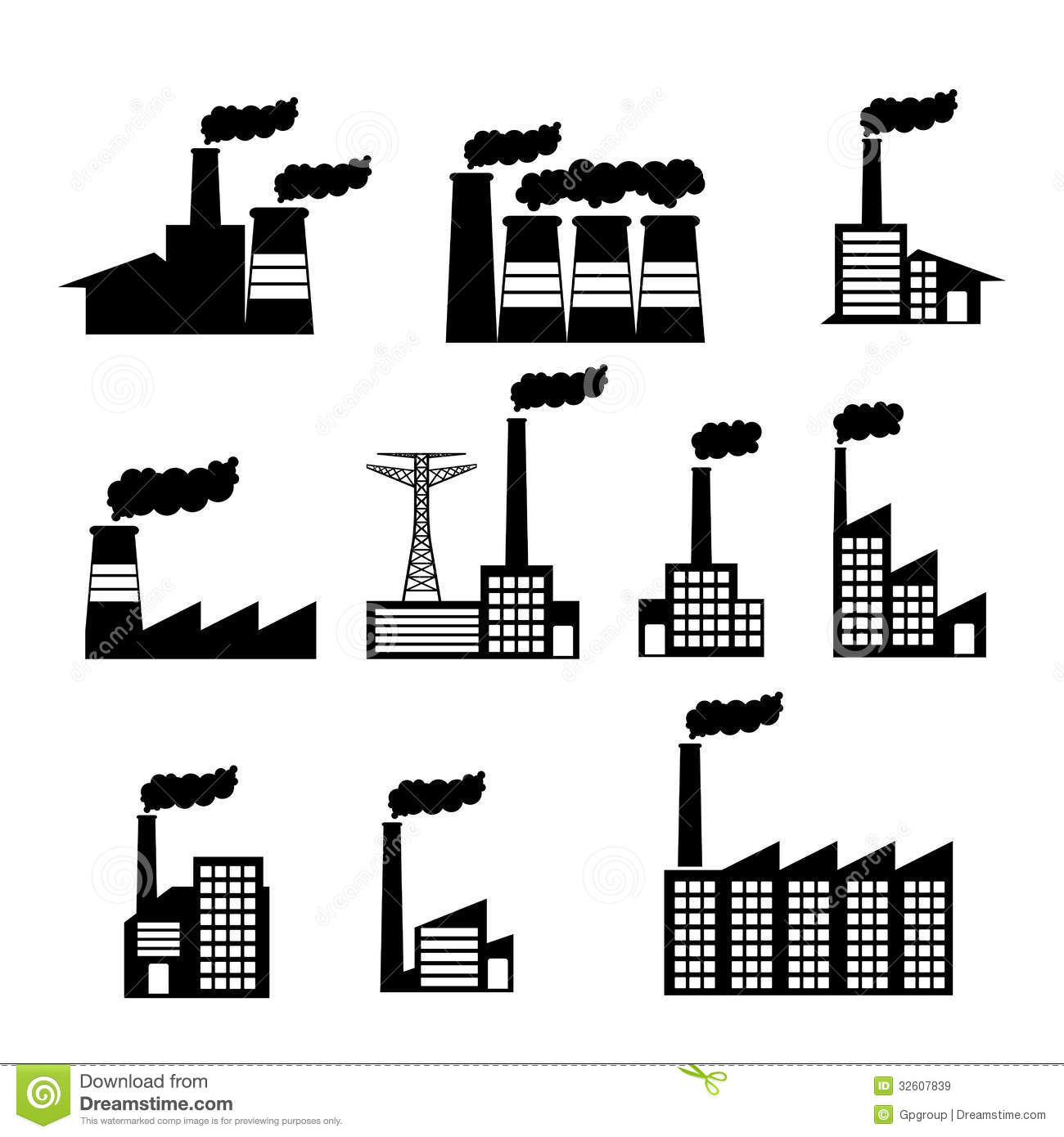 Factory Icons Stock Vector Illustration Of Clip Factory