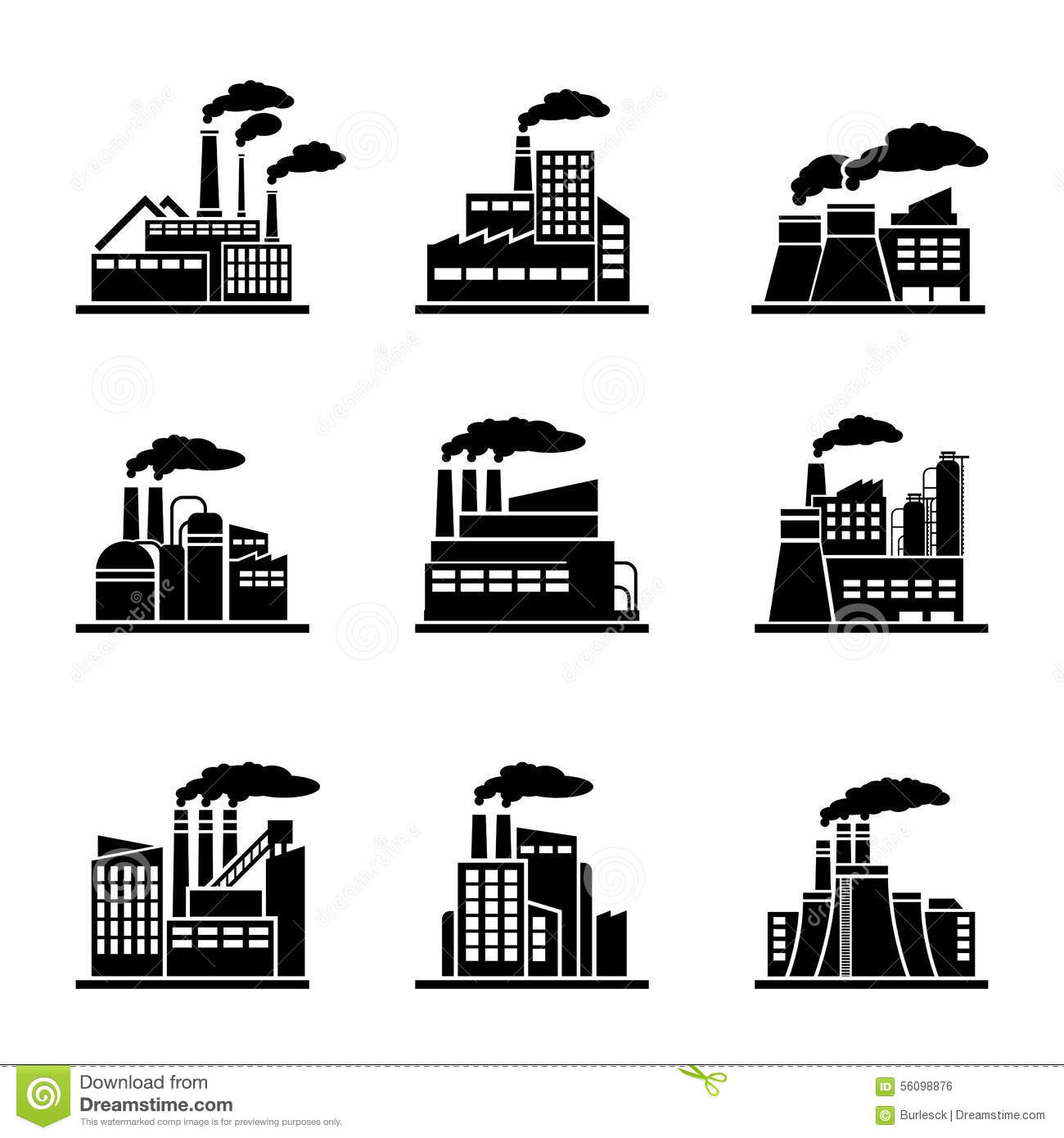 Factory And Industrial Building Icons Stock Vector