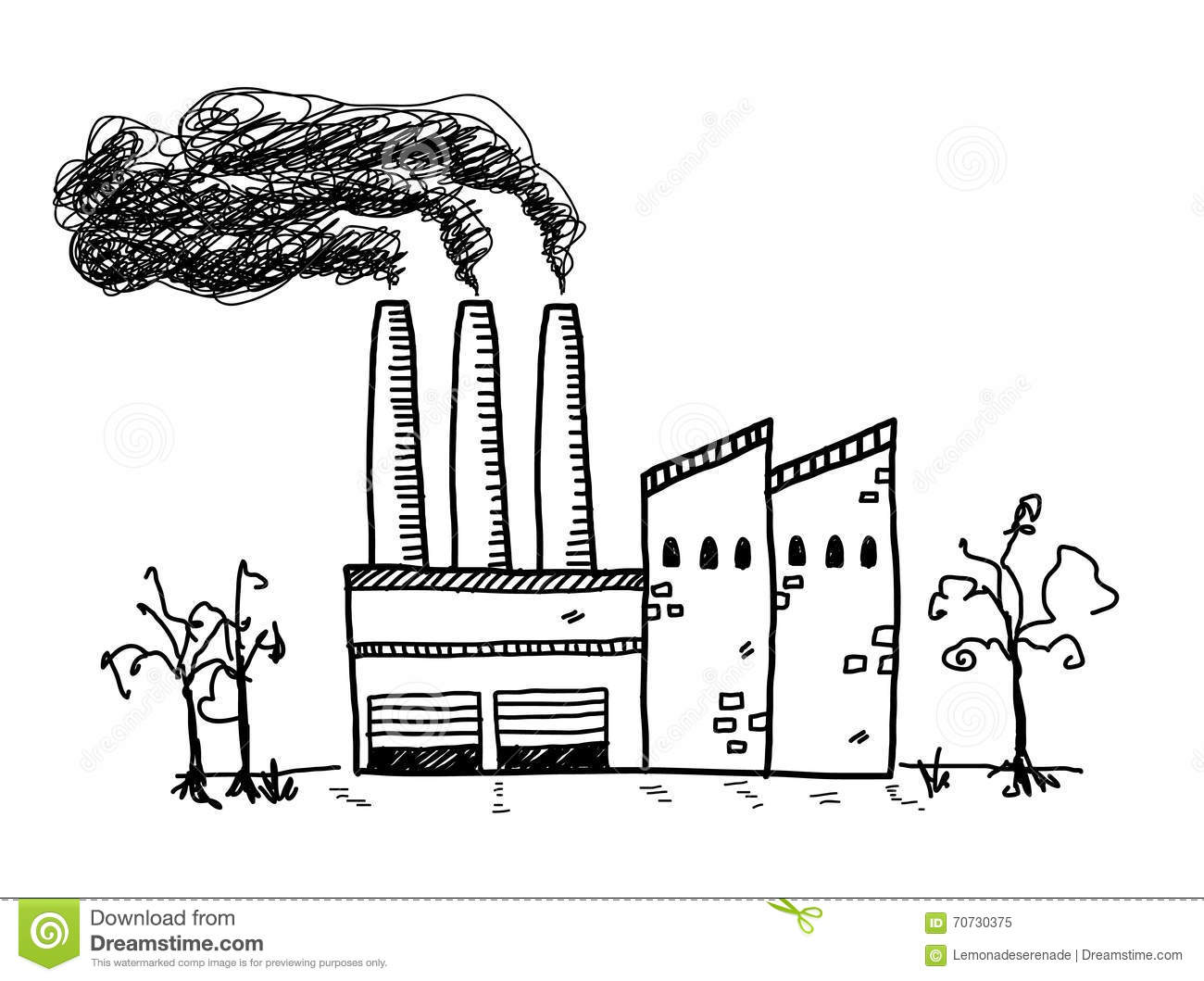 Factory Pollution Doodle Stock Vector Illustration Of