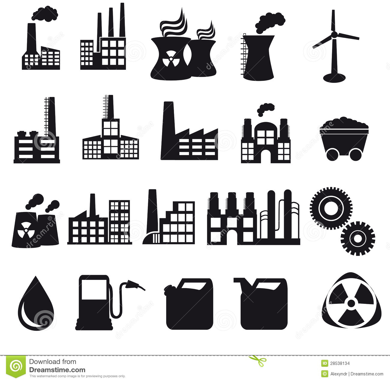 Factory And Pollution Icons Stock Vector
