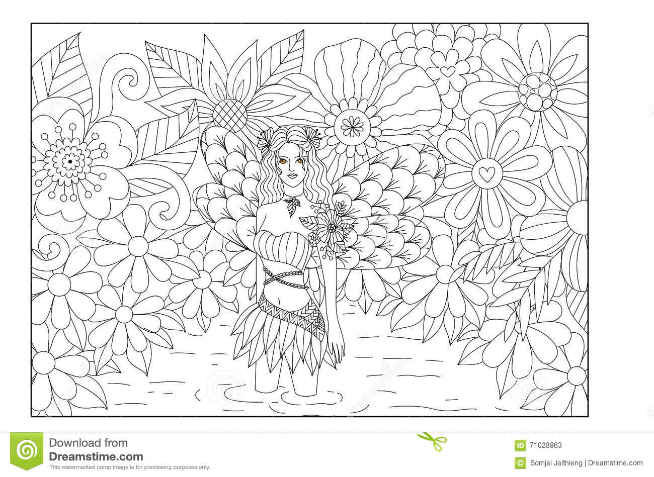 Fairy In Pond Line Art Design For Coloring Book For Adult