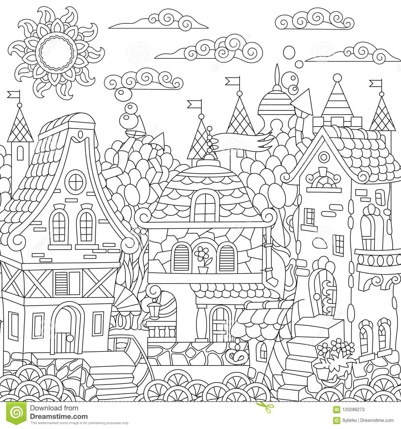 Zentangle Fairy Tale Town Stock Vector Illustration Of
