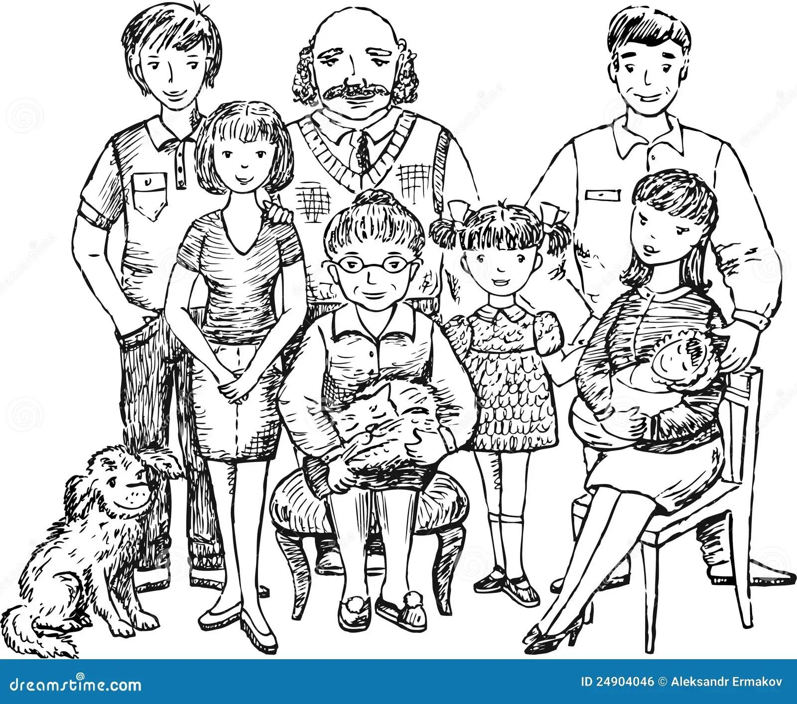 Familia Grande Ilustracion Del Vector Ilustracion De