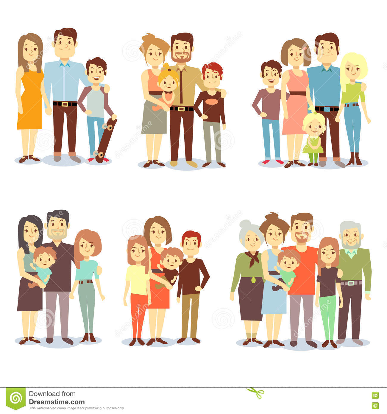 Families Different Types Flat Vector Icons Set Stock