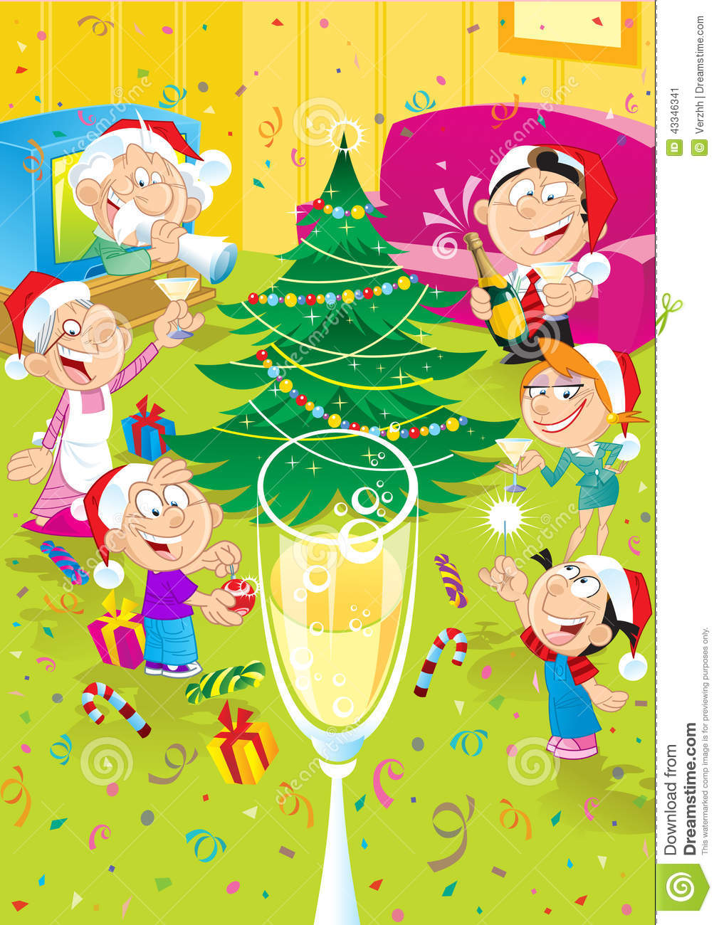 Family Celebrates Christmas Stock Vector Image 43346341