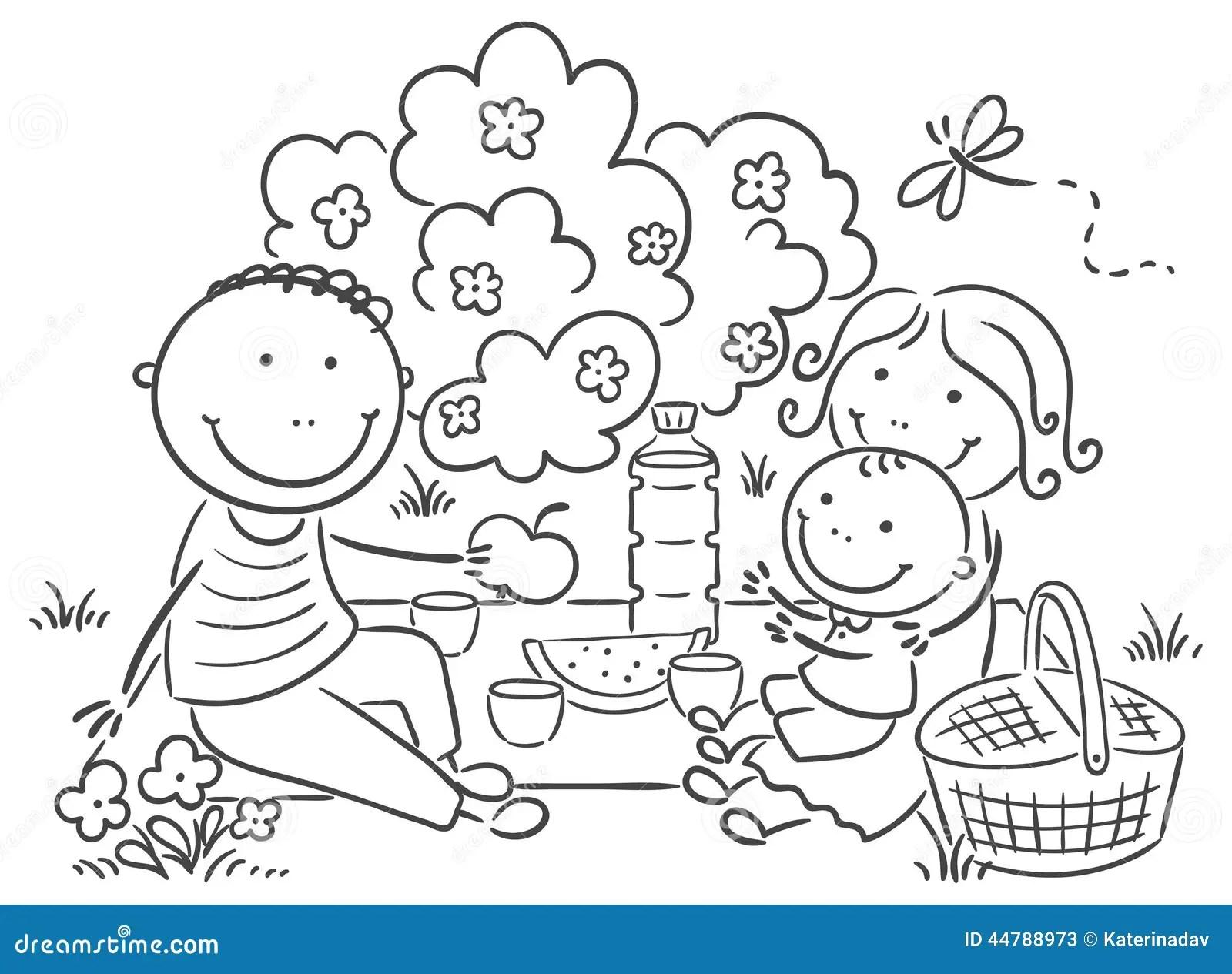 Family Having Picnic Outdoors Stock Vector
