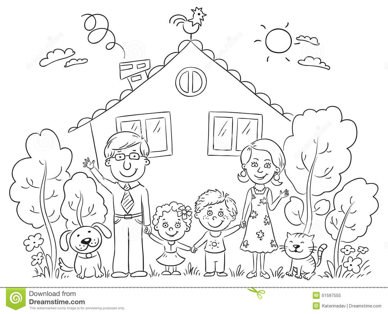 Family At The House Outline Stock Vector