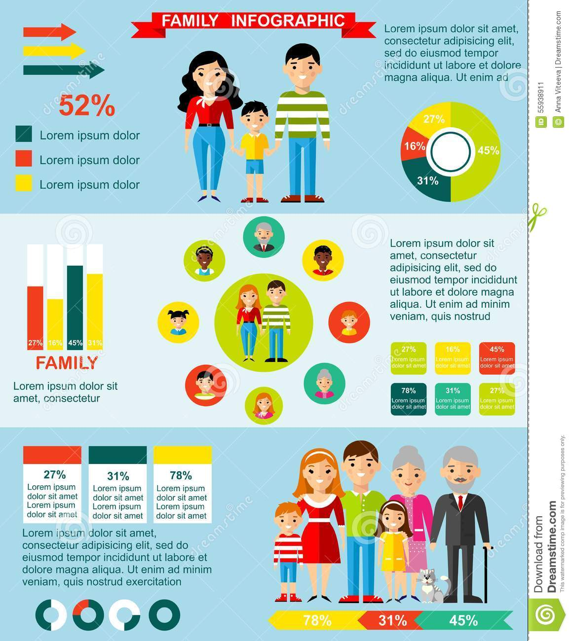 Family Infographics Set With Parent Children Stock Vector