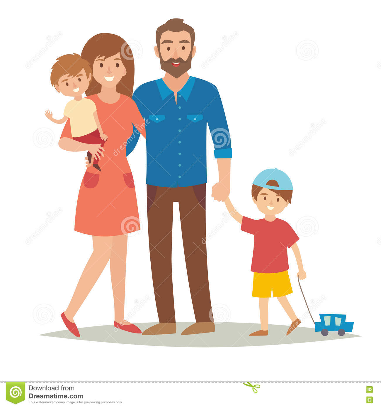 Mother With Kids Happy Family Mother With Children Cartoon Vector