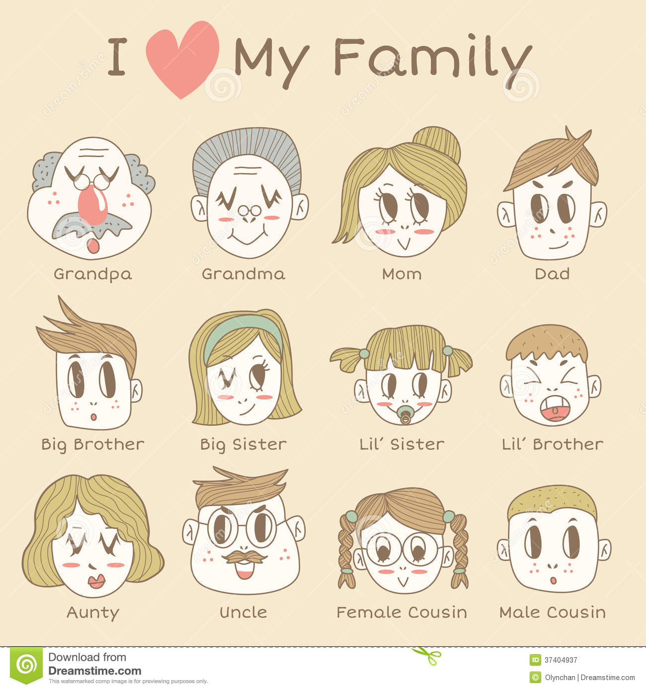 Family Members Icon Set Stock Illustration Illustration