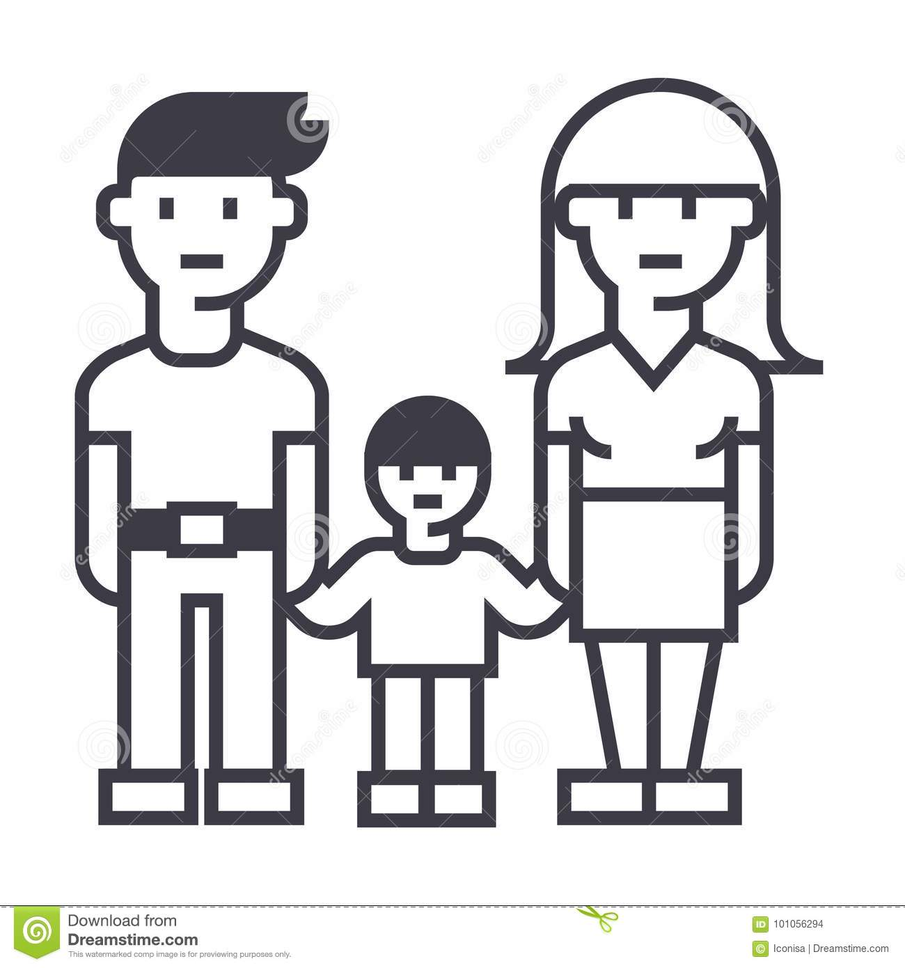 Family Mother Father And Son Vector Line Icon Sign