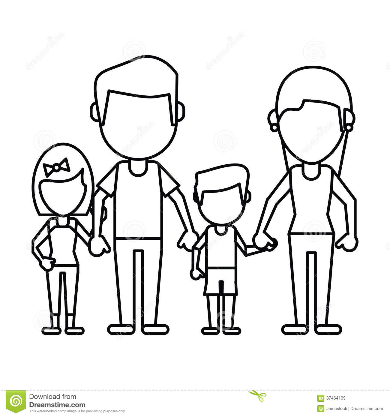Family Parents Son Daughter Thin Line Stock Vector