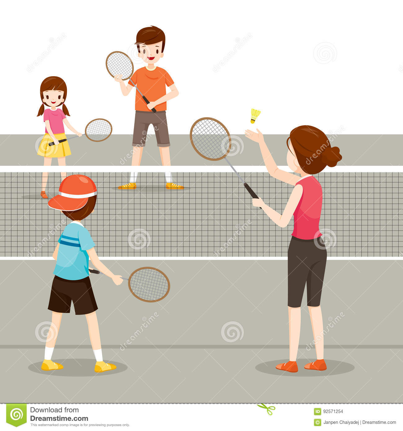Family Playing Badminton For Good Health Stock Vector