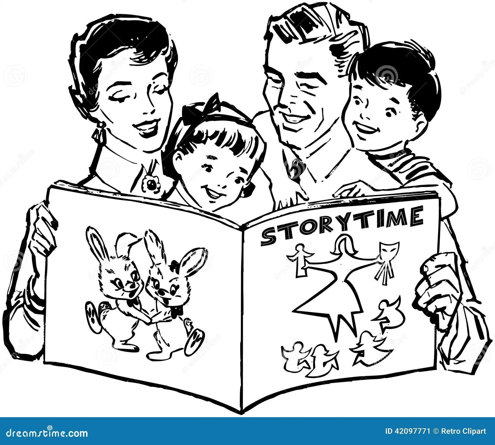 Family Reading Book Stock Vector