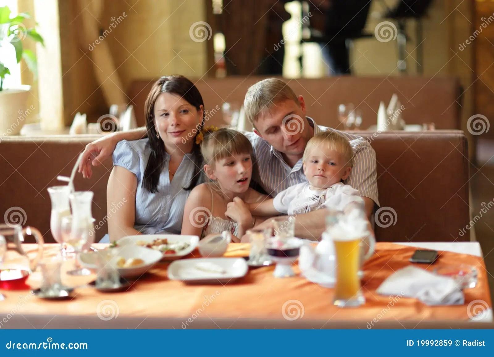Family At Restaurant Stock Image Image Of Kids Girls
