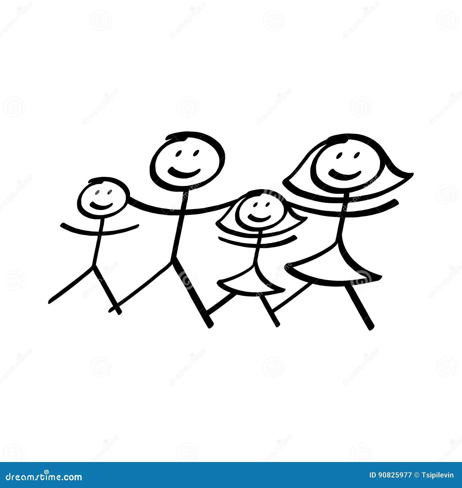 Family Of Stick Figures Illustration Stock Illustration