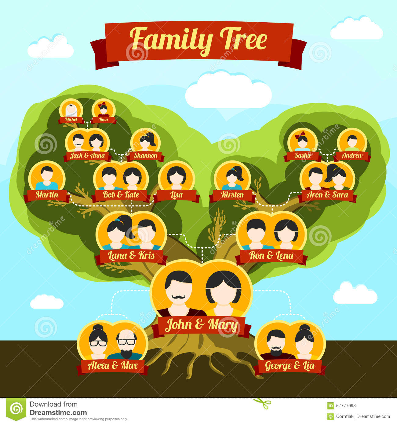 Family Tree With Places For Your Pictures And Stock Vector