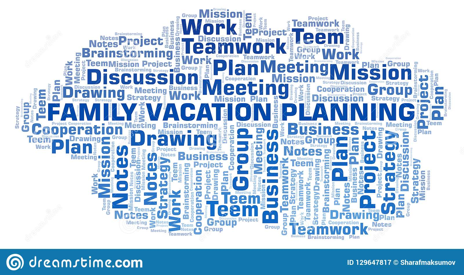 Family Vacation Planning Word Cloud Stock Illustration