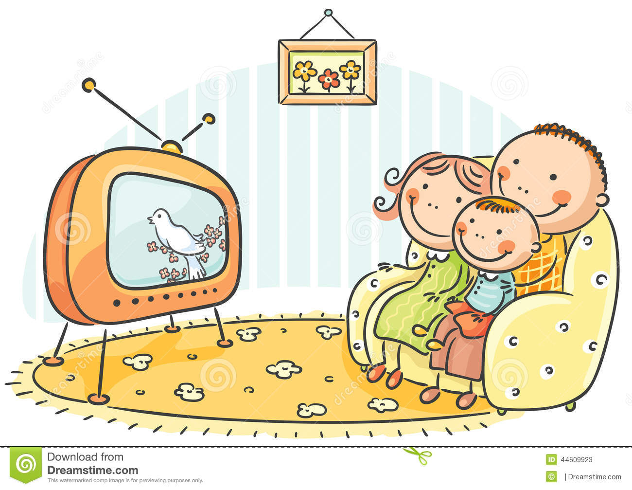 Family Watching TV Together Stock Vector Image 44609923