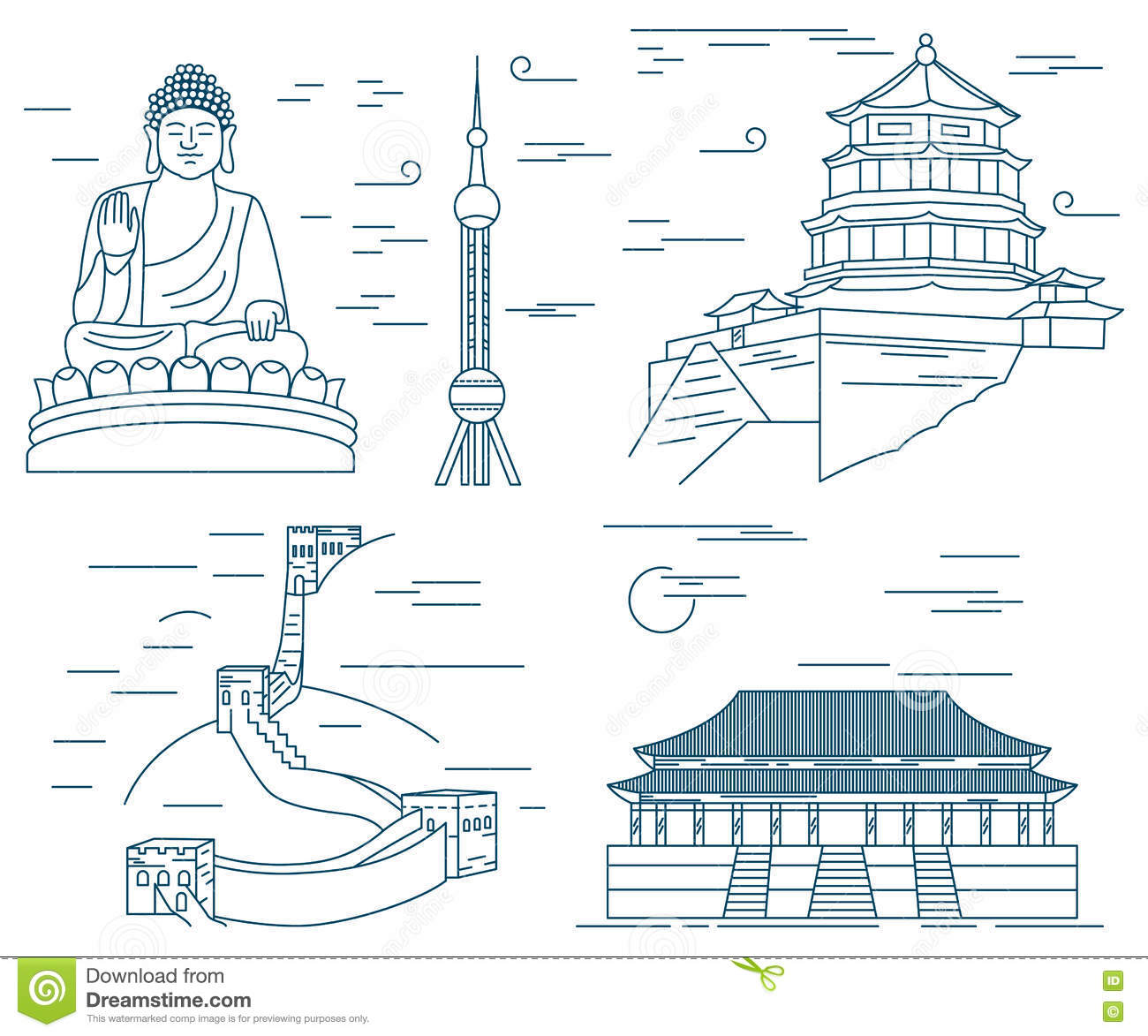 Famous China Skyline Landmarks Thin Line Stock Vector