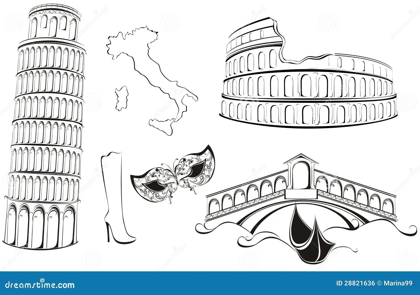 Famous Landmarks Of Italy Stock Vector Illustration Of