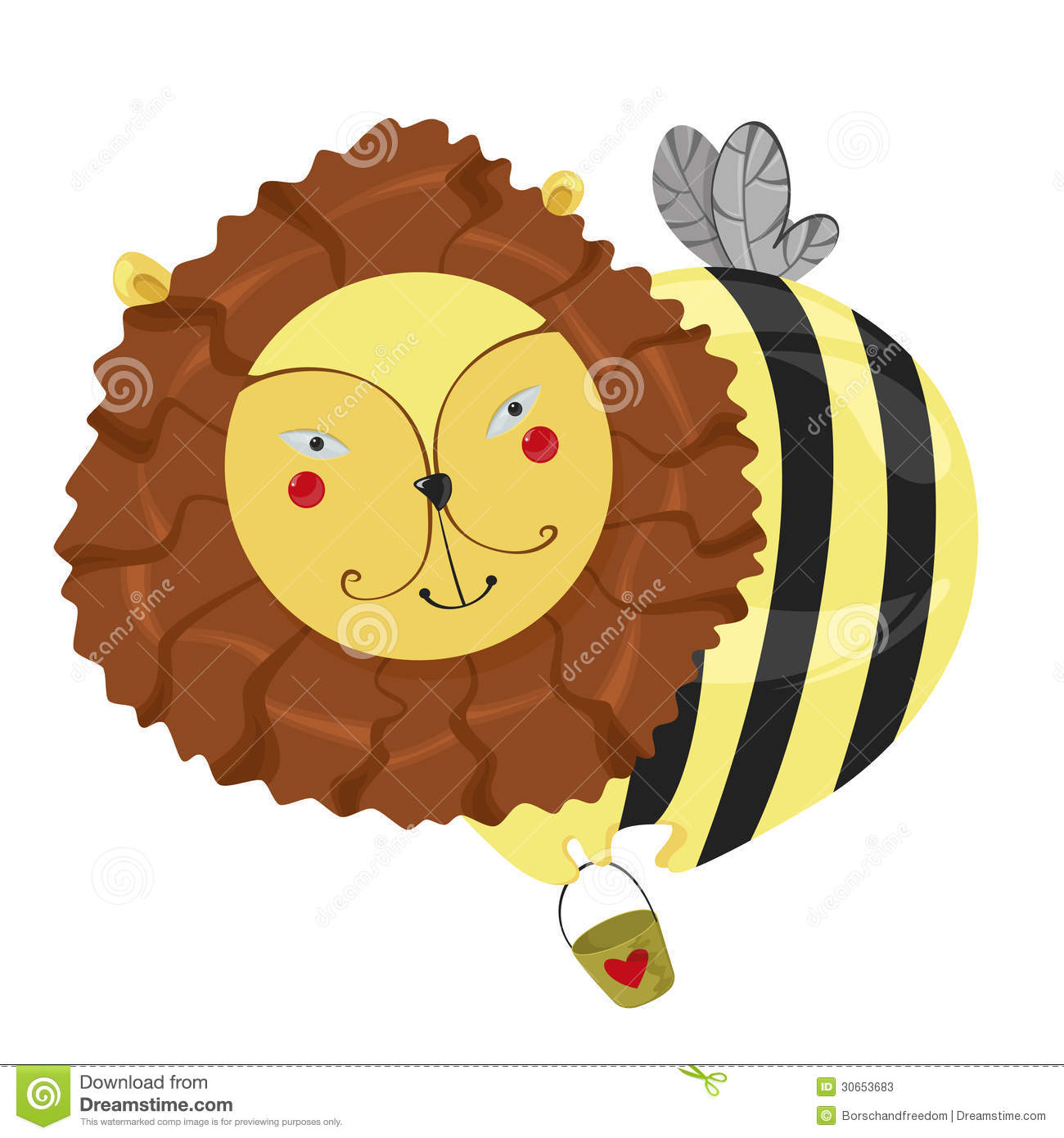 Fantastic Character Lion Bee Stock Vector Illustration