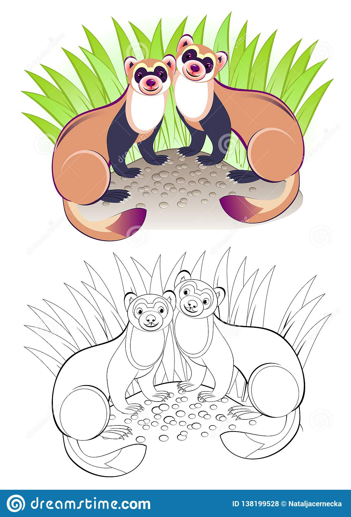Fantasy Illustration Of Couple Cute Ferrets Colorful And