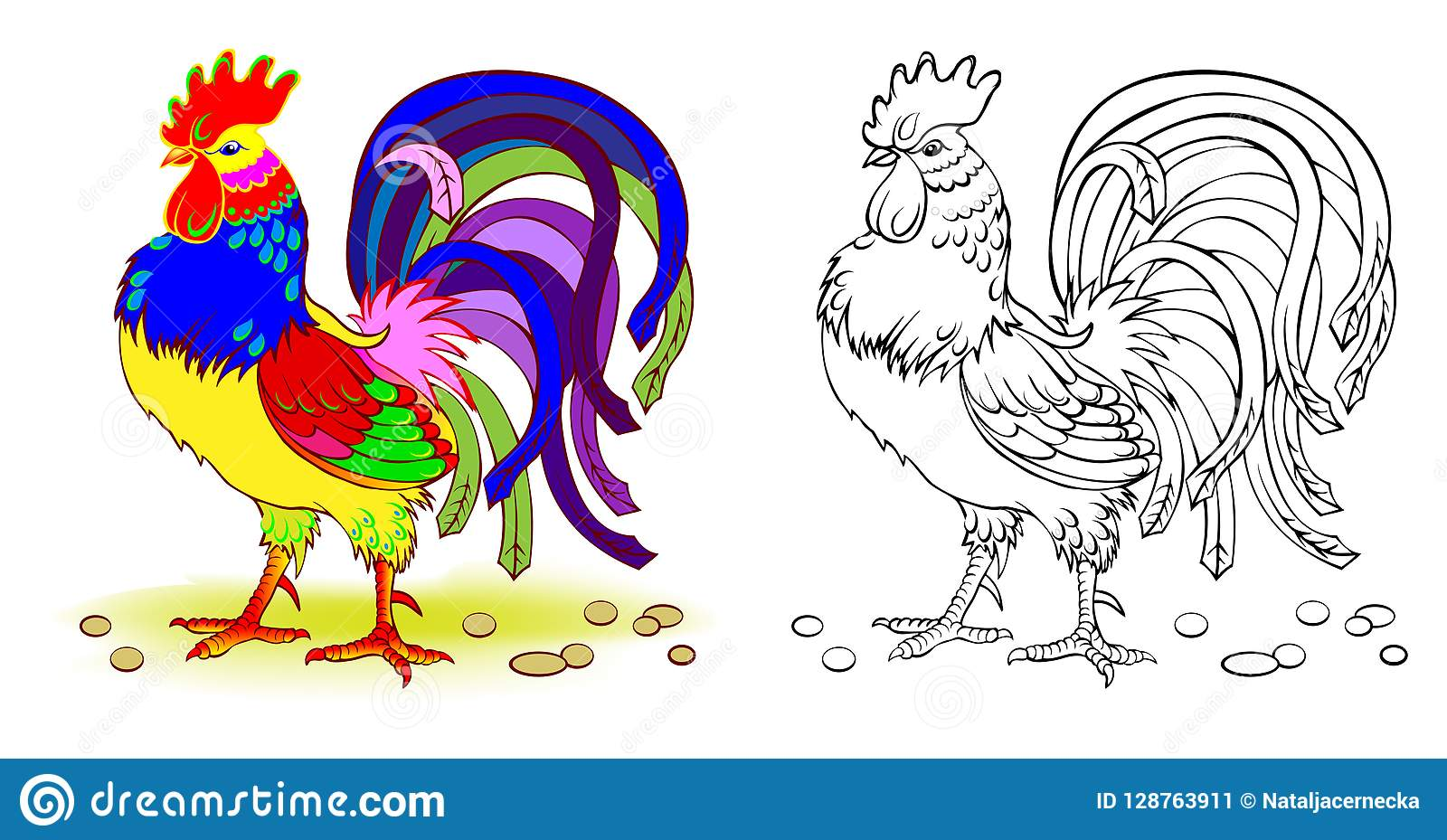 Fantasy Illustration Of Cute Rooster Colorful And Black