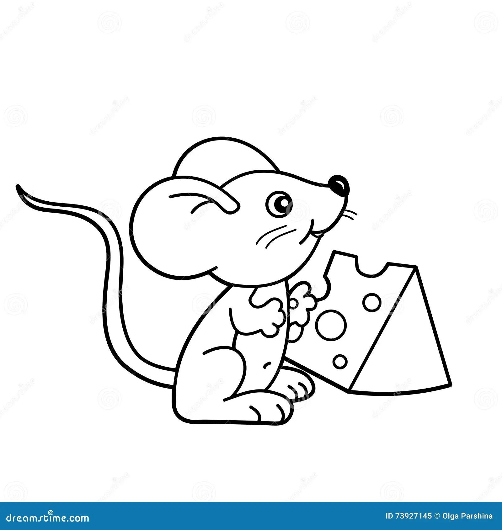 Farbton Seiten Entwurf Der Kleinen Maus Der Karikatur Mit