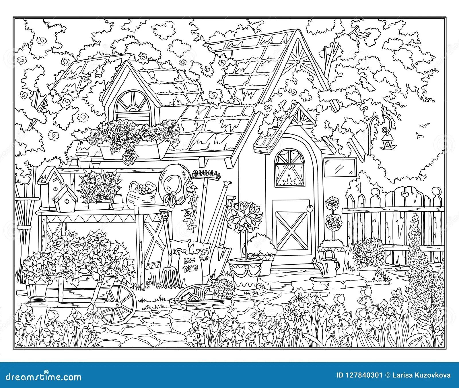Farbtonseite Der Geheime Garten Stock Abbildung