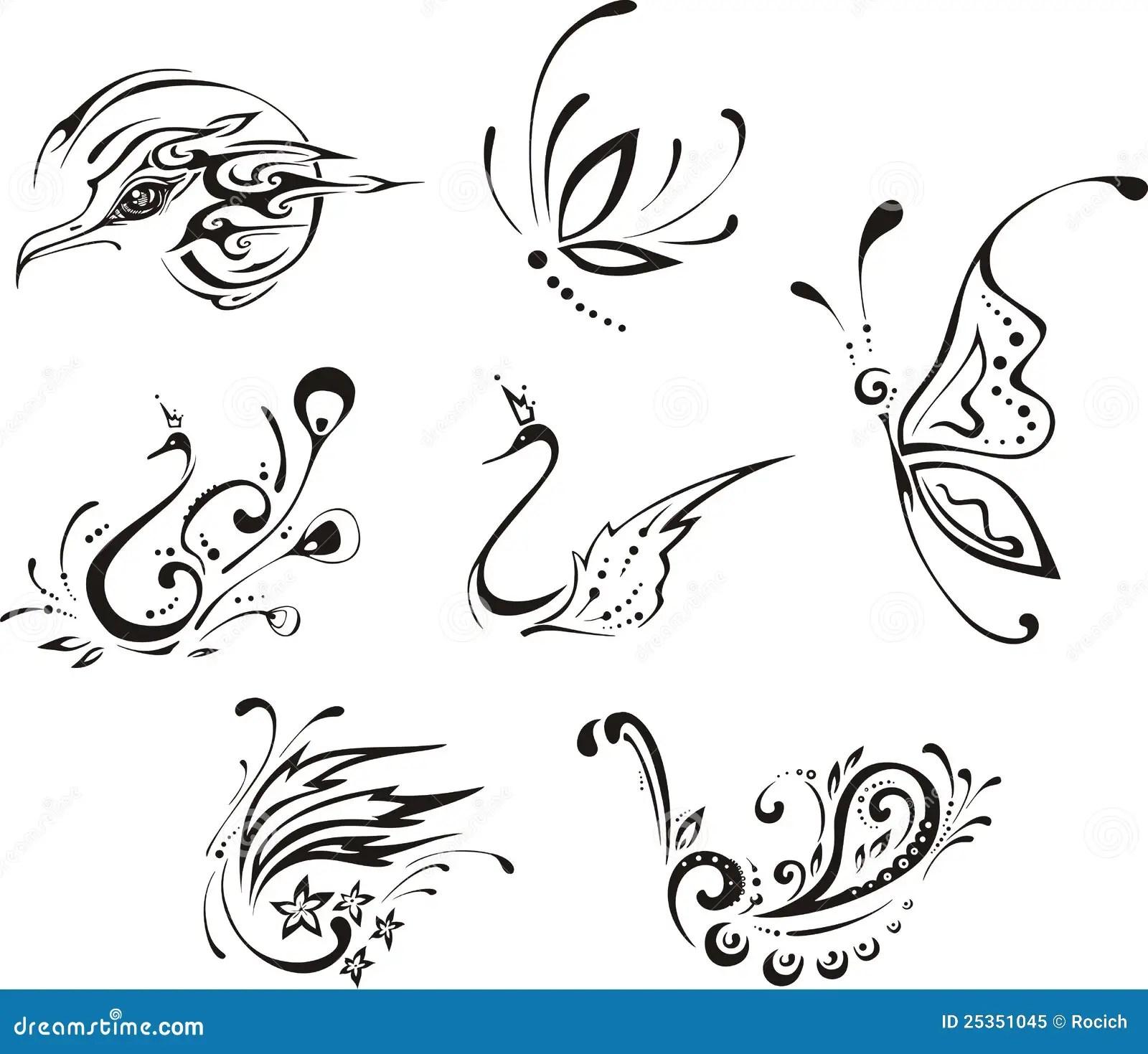 Farfalle Ed Uccelli Stilizzati Illustrazione Vettoriale