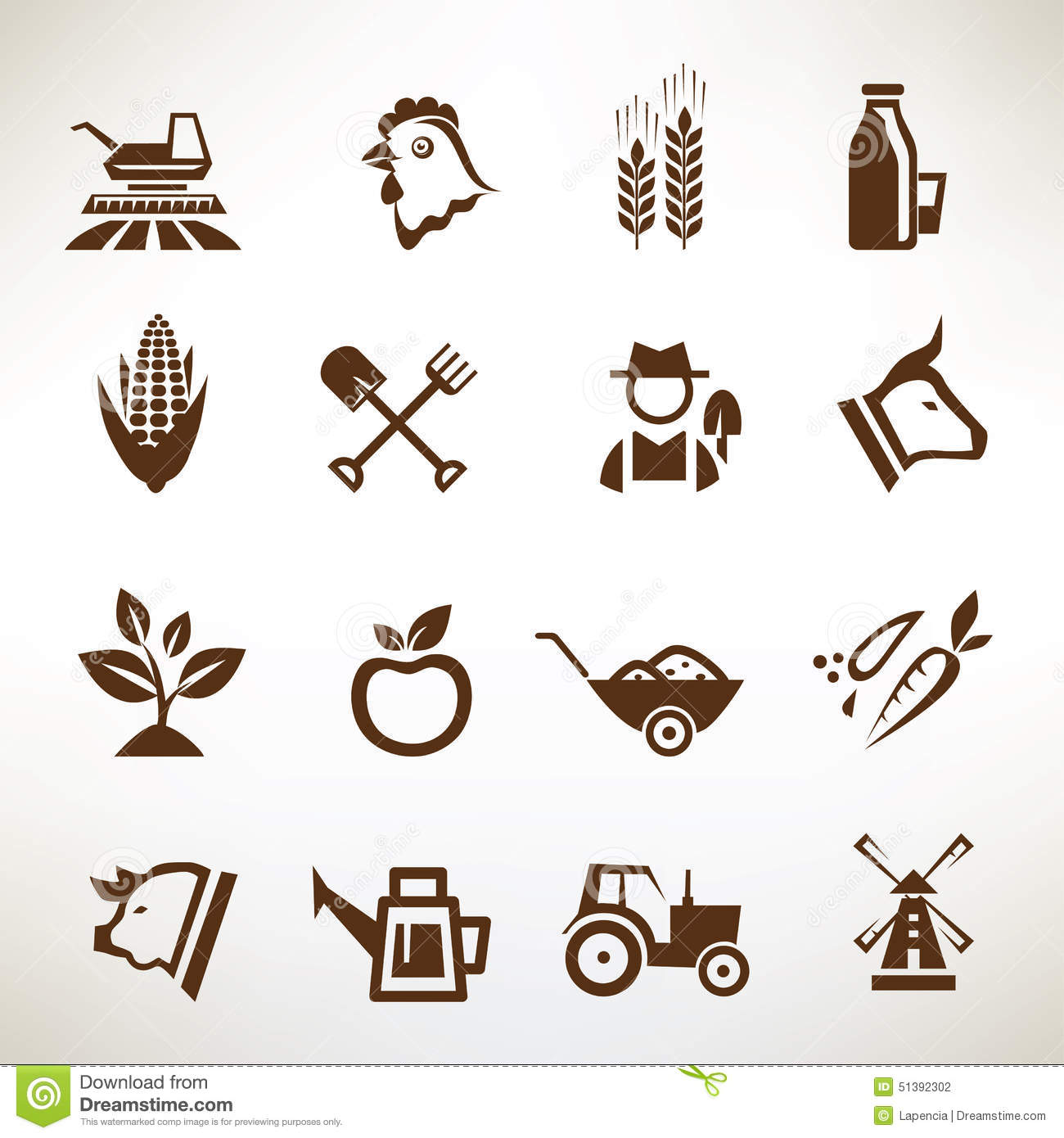 Farm And Agriculture Vector Icons Stock Vector Image
