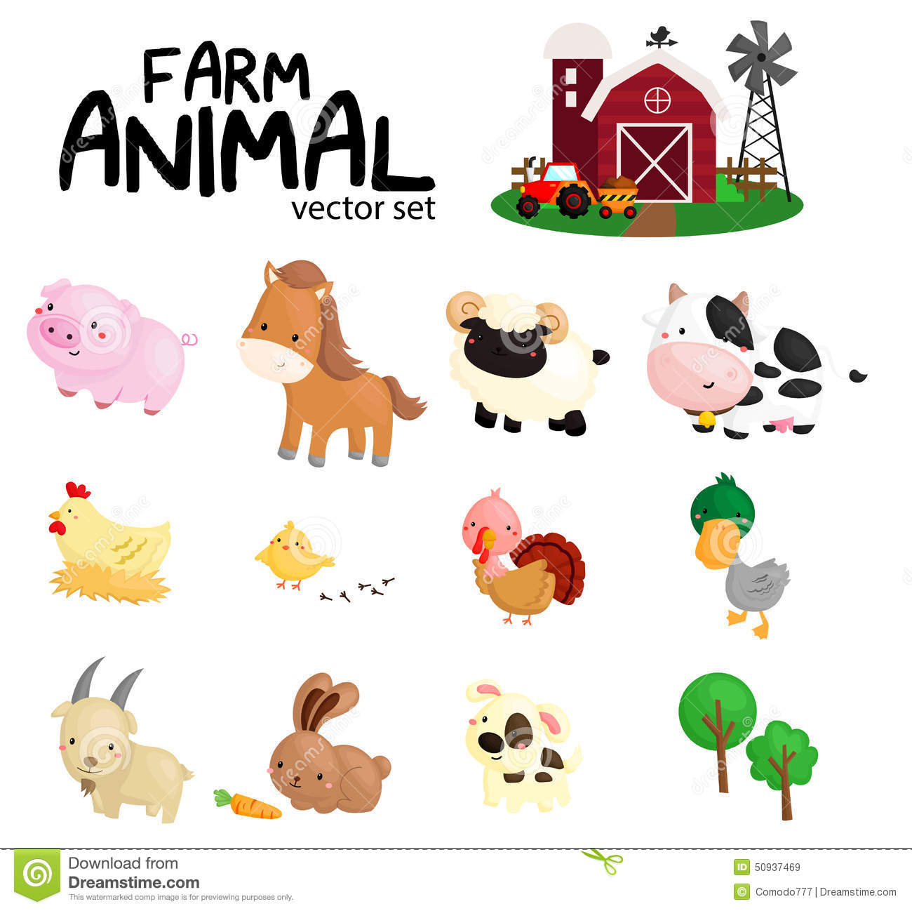 Farm Animal No Background Stock Vector Illustration Of