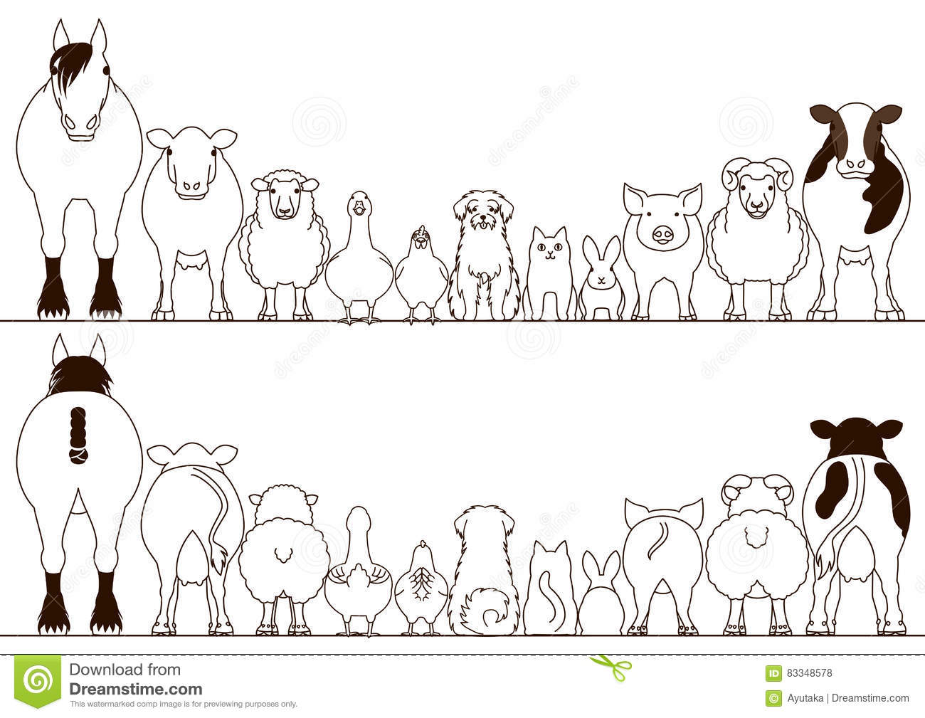 Farm Animals Border Set Front View And Rear View Stock