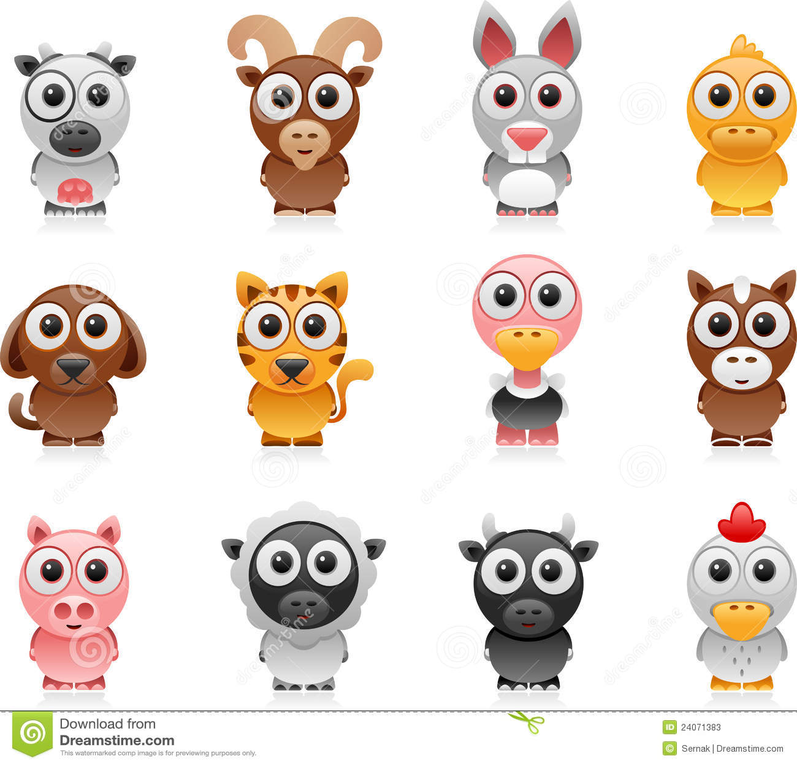 Farm Animals Cartoon Set Stock Vector Illustration Of