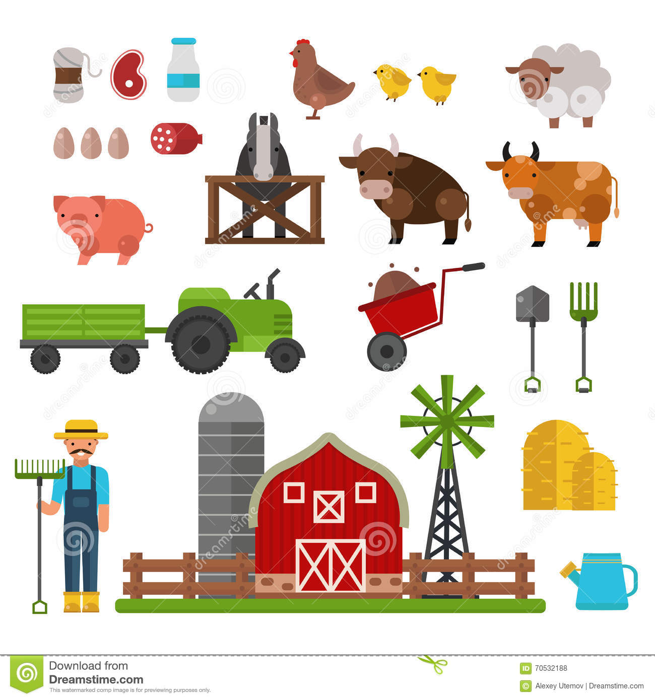 Farm Animals Food And Drink Production Symbols Organic