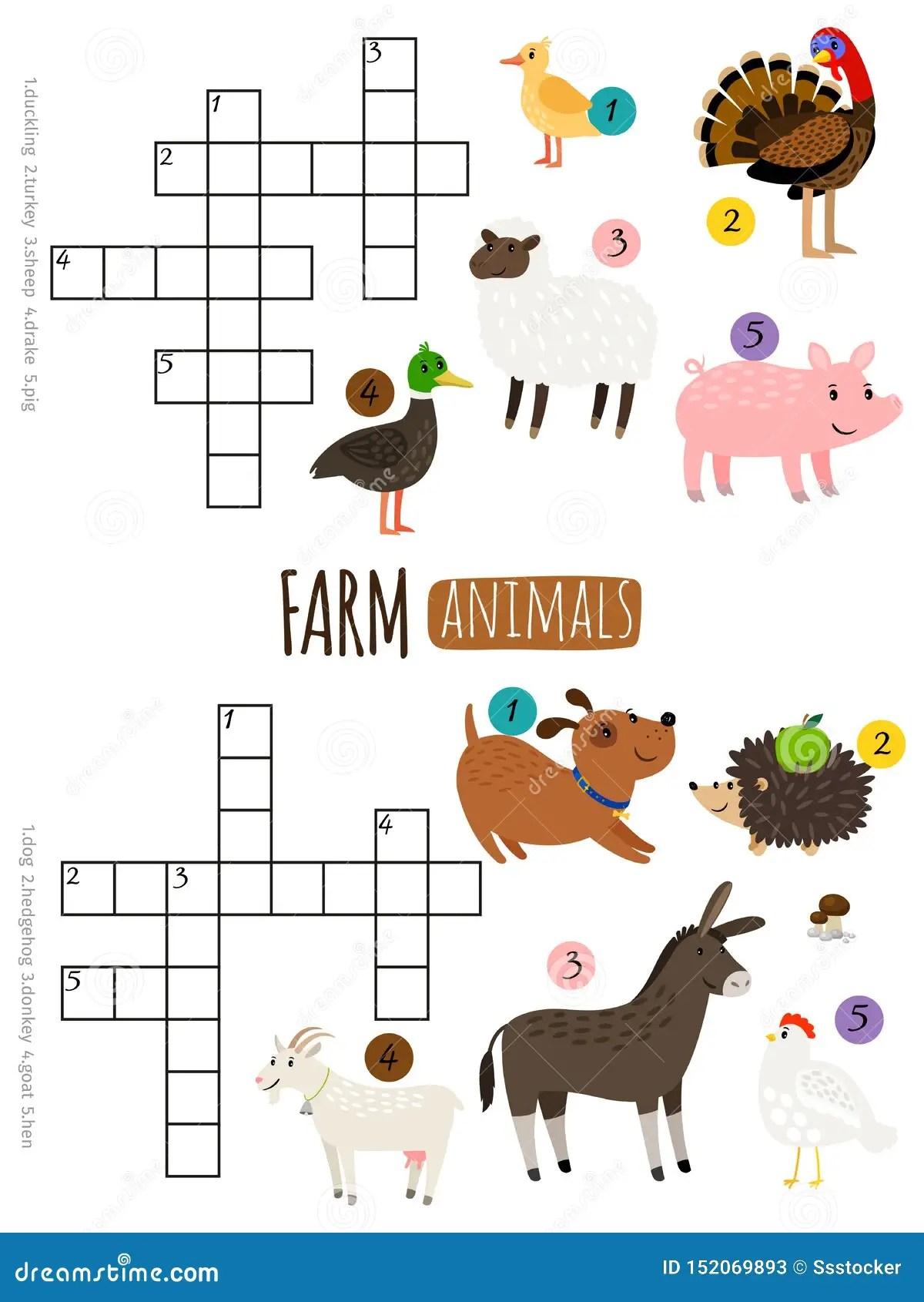 Farm Animals Mini Crosswords Stock Vector