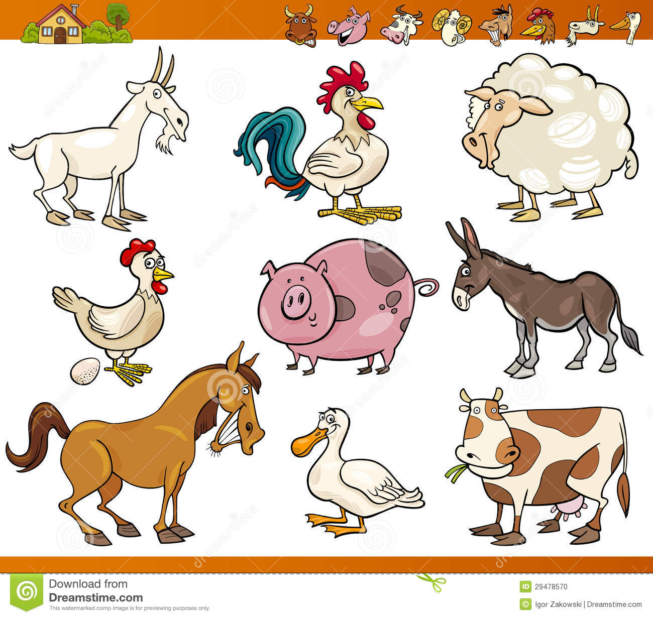 Farm Animals Set Cartoon Illustration Stock Vector