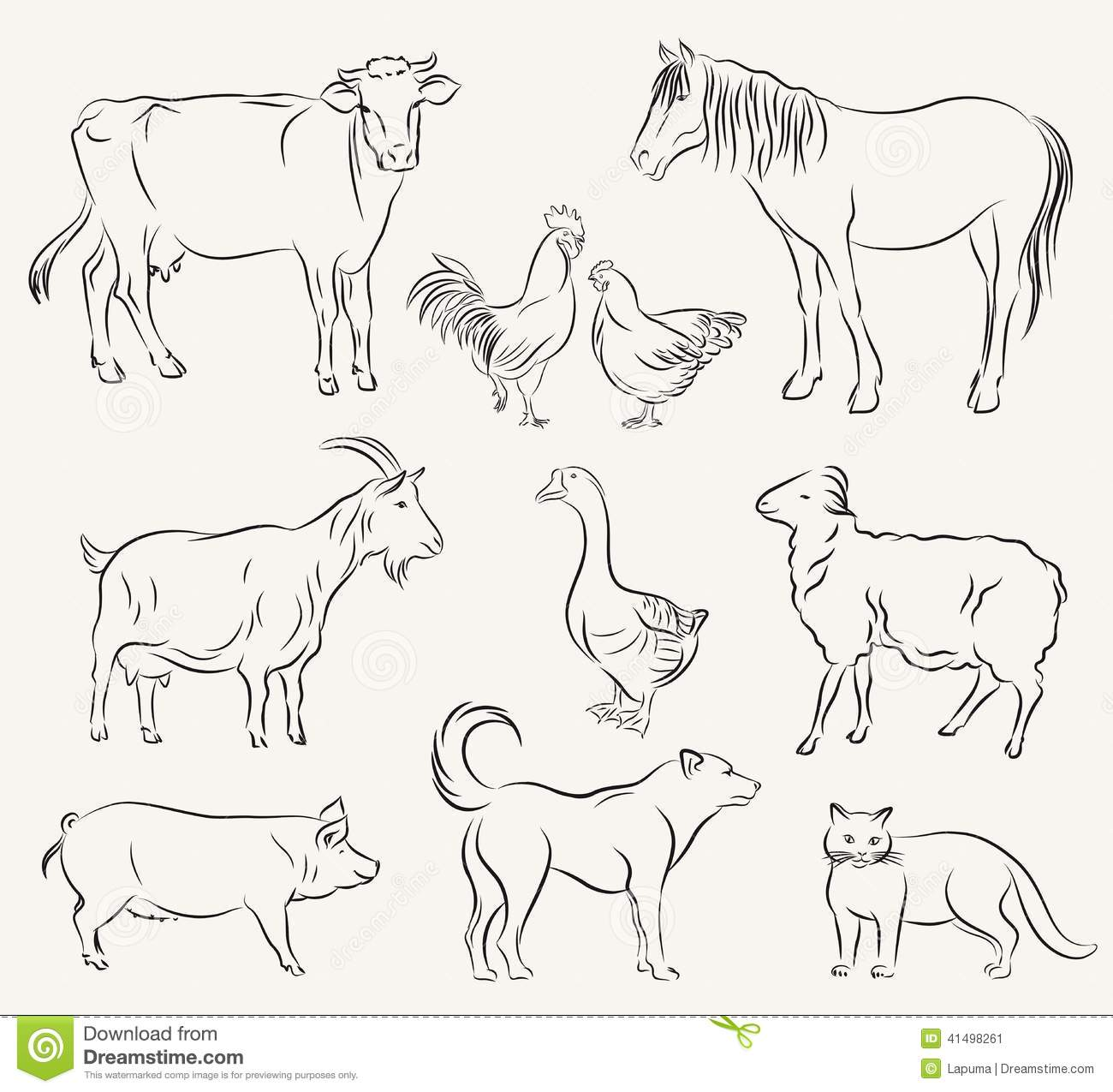 Farm Animals Stock Vector