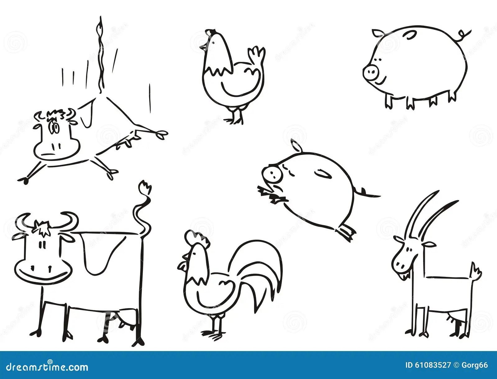 Farm Animals Simple Clipart Stock Vector