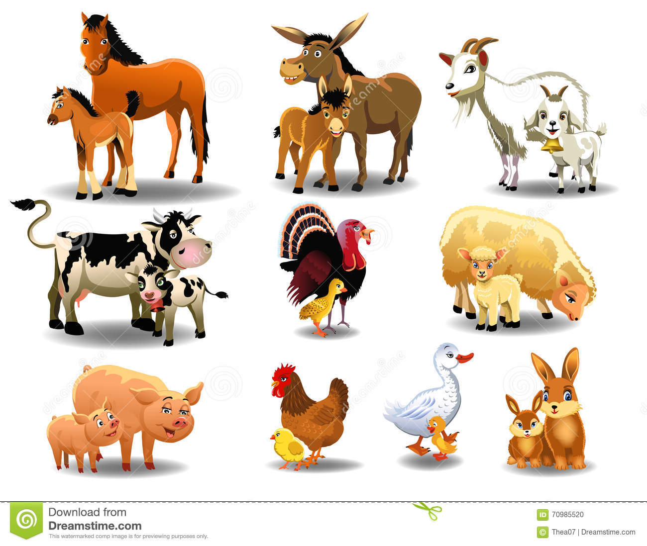 Farm Animals And Their Babies Stock Vector