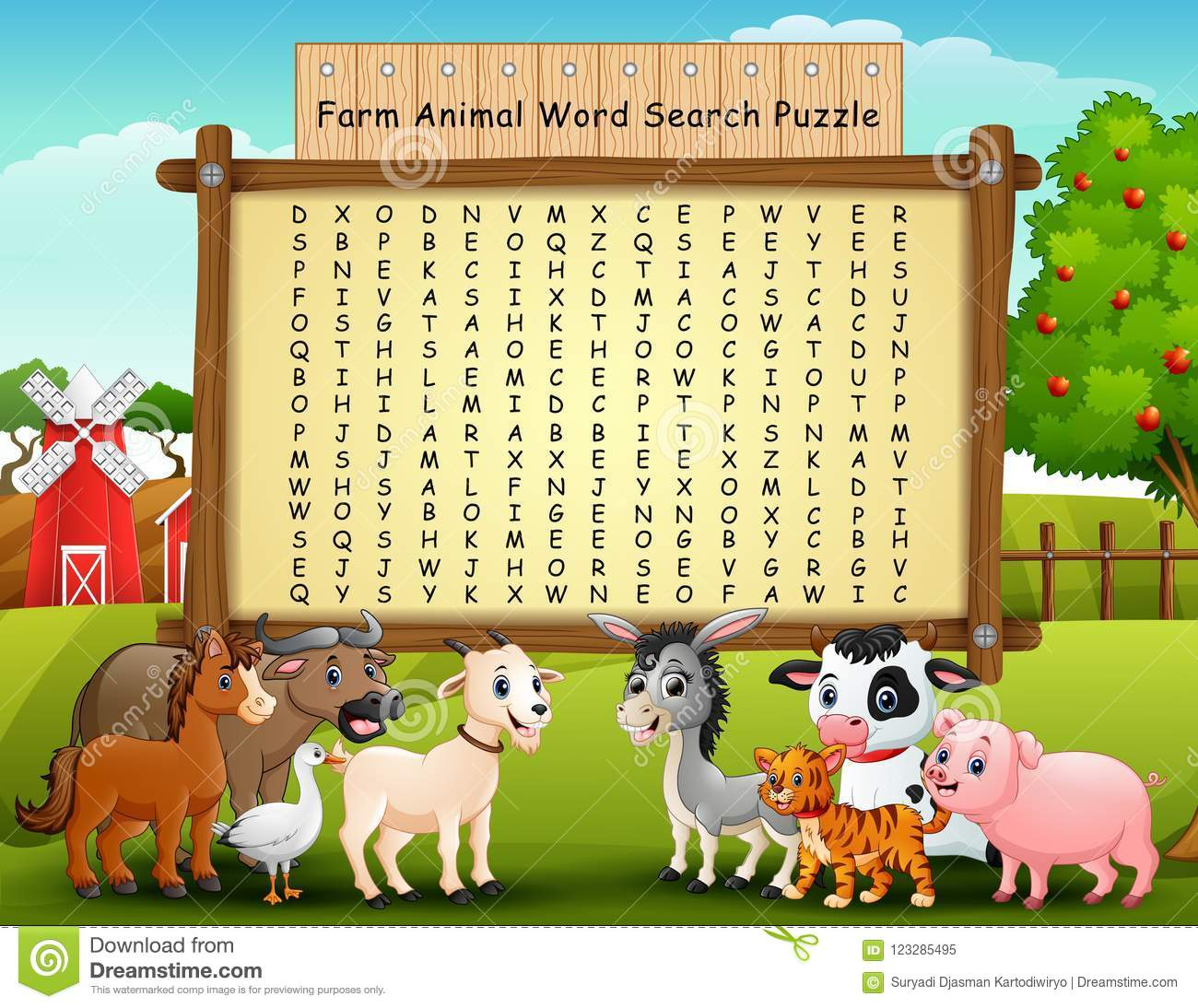 Farm Animals Word Search Puzzle Stock Vector